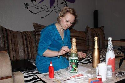 Новогодние бутылки с шампанским своими руками фото 927